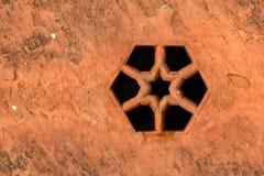 Rusty drain hole close. Close up image of old rusty drain hole Stock Photo