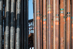 Rusty drill pipe. On the rig floor stock photography