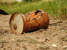 Rusty drum. Drum dumped in a lake Stock Image