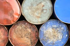 Rusty drums background Stock Photos