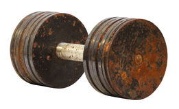 Rusty dumbbell on a white background Royalty Free Stock Image