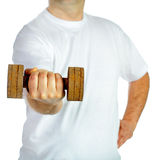 Rusty dumbell hold by hand Stock Image