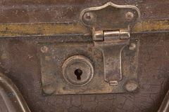 Rusty, dusty lock on an old suitcase Royalty Free Stock Image