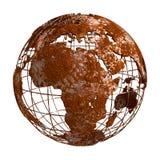 Rusty Earth-planeet 3D Bol Stock Afbeelding