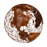 Rust Earth planet 3D Globe. Isolated rustic globe Earth accurate geographic coordinates (latitude and longitude grid) wire framework. Old rusty ruined, vintage Royalty Free Stock Image