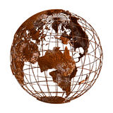 Rust Earth planet 3D Globe. Isolated rustic globe Earth accurate geographic coordinates (latitude and longitude grid) wire framework. Old rusty ruined, vintage Stock Photos