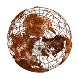 Rusty Earth-Planet 3D Kugel Lizenzfreies Stockfoto
