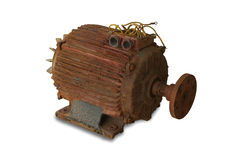 Rusty electric motor. On white background royalty free stock photo