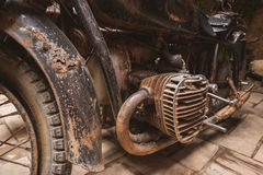 Rusty engine of motorbike. Royalty Free Stock Photos