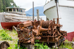 Rusty Engines by Dry Docked Boats Royalty Free Stock Image