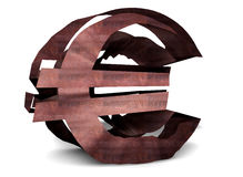 Rusty euro sign. Rusty and broken euro sign. The metaphor of the economic crisis Royalty Free Stock Photos