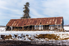 Rusty Farm Barn Snow Stock Image