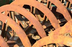 Rusty farm harrow Stock Image