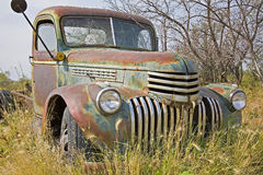 Rusty farm truck pasture green field Stock Photos