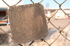 Rusty fence. A fence with rusty copy space Royalty Free Stock Photo