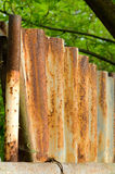 Rusty fence. Rusty iron fence, blur trees and plats as background vector illustration