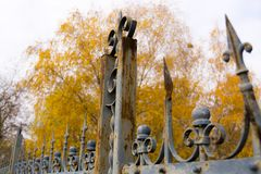 Rusty fence of an old garden royalty free stock photography