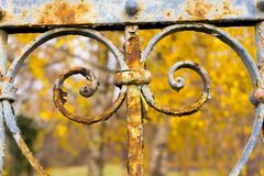 Rusty fence of an old garden royalty free stock photo