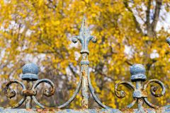 Rusty fence of an old garden royalty free stock image