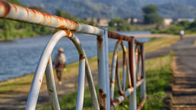The Rusty Fence. In side the river with blurred background Stock Photos
