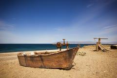 Rusty fishing boat at beach near Almeria Royalty Free Stock Photo