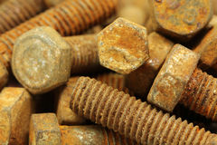 Rusty fixing bolts  background Royalty Free Stock Photography