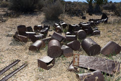 Rusty food cans abandoned in joshua tree national park californi. Rusty metal food cans in the desert Stock Photography