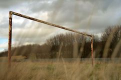 Rusty Football Goals. An overcast image of rusty football goals stock photography