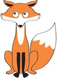 Cartoon character fox. Rusty Fox playful animal, character of fables. Funny vector illustration. White background with Fox Royalty Free Stock Images