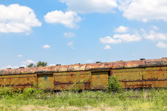 Rusty Freight Cars in Weeds stock photography