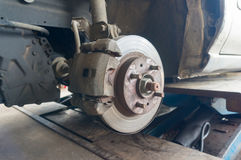 Rusty Front Car Wheel Hub with Disk Brake System Stock Photography