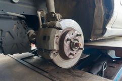 Rusty Front Car Wheel Hub with Disk Brake System Royalty Free Stock Photos