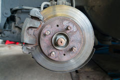 Rusty Front Car Wheel Hub with Disk Brake System Royalty Free Stock Photography