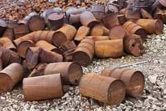 Rusty fuel and chemical drums Stock Images