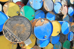 Rusty fuel and chemical drums Royalty Free Stock Images