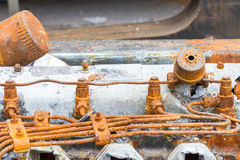 Rusty fuel injector and fuel pipe of diesel engine Stock Photo