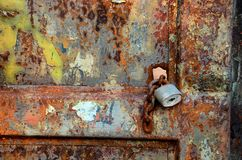 Rusty gate. A rusty gate in the post-Soviet military area of Milovice, Czech Republic Stock Photography