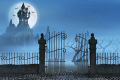 Rusty gate and a spooky dark castle Stock Image