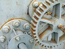 Rusty gear. S and bolts on old abandoned electrical generator royalty free stock photos