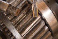 Rusty gear. Close up view of gears from old mechanism Stock Image
