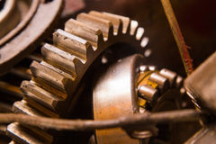 Rusty gear. Close up view of gears from old mechanism Royalty Free Stock Photography