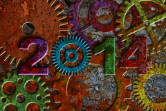 2014 Rusty Gear on Grunge Texture Background. 2014 Colorful Rusty Gears on Metal Grunge Texture Background Stock Images