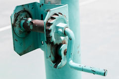 Rusty gear wheel handle Stock Photos