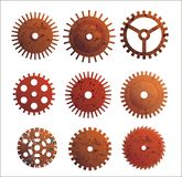 Rusty gears. Set or different design gears with rust texture Stock Photo
