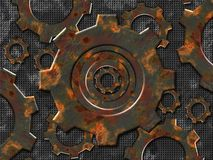 Rusty gears. Over metal plate background created for rusty set . Look for more matching design elements in my gallery stock illustration