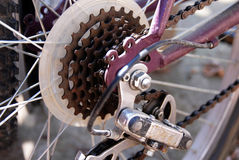Rusty gears. Rusty bicycle gears for speed regulation closeup outdoor Stock Photos