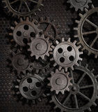 Rusty Gears And Cogs Metal Background Royalty Free Stock Photos