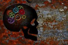 Rusty Gears auf Schädel-Schmutz-Beschaffenheits-Hintergrund stock abbildung