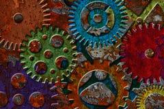 Rusty Gears auf Schmutz-Beschaffenheits-Hintergrund lizenzfreie abbildung