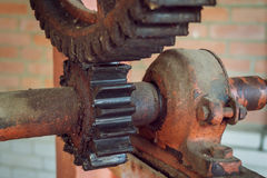 Rusty gears. Close-up of old rusty gears hoisting mechanism Royalty Free Stock Photo